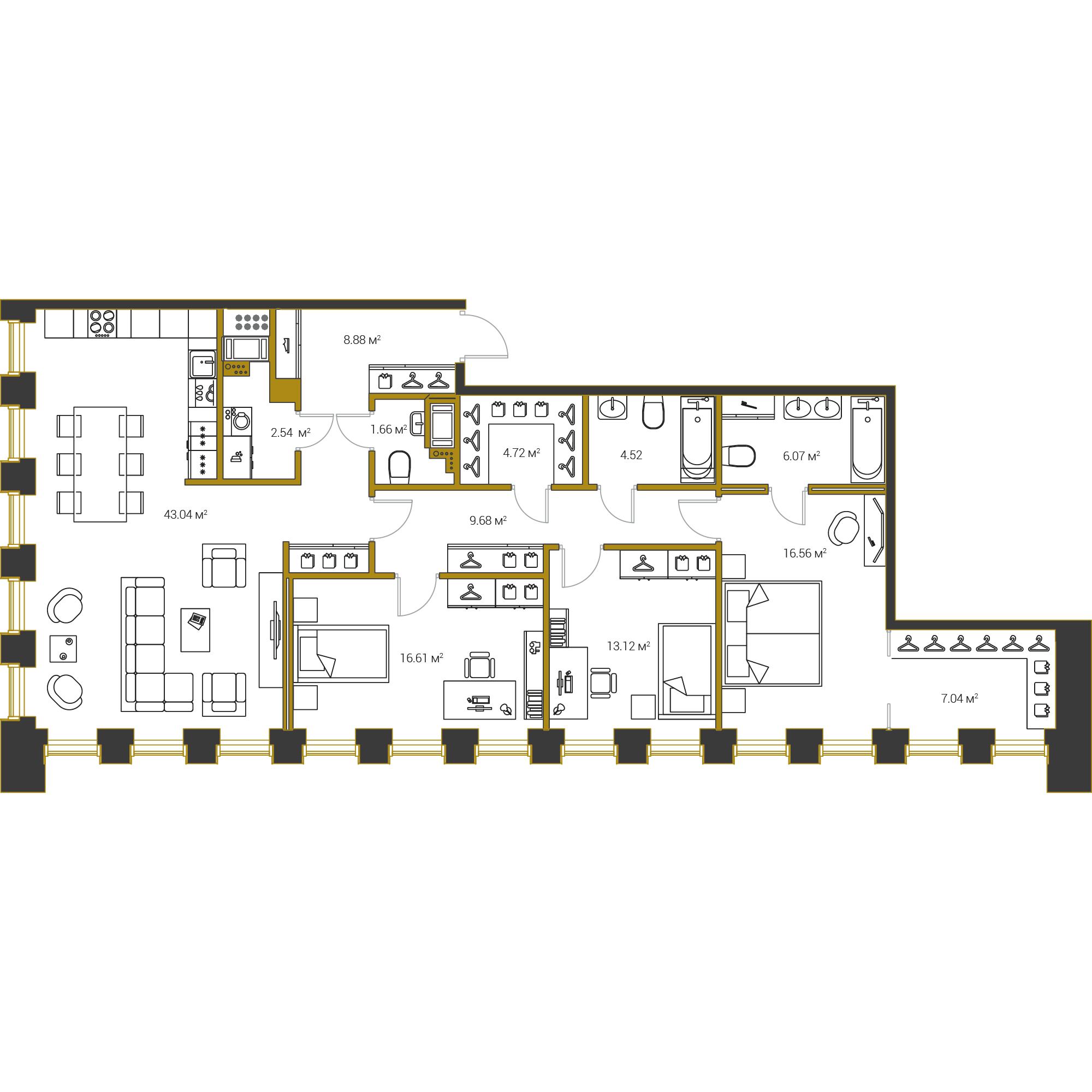 3-комнатная квартира №16 в: Институтский,16: 134.44 м²; этаж: 12 - купить в Санкт-Петербурге