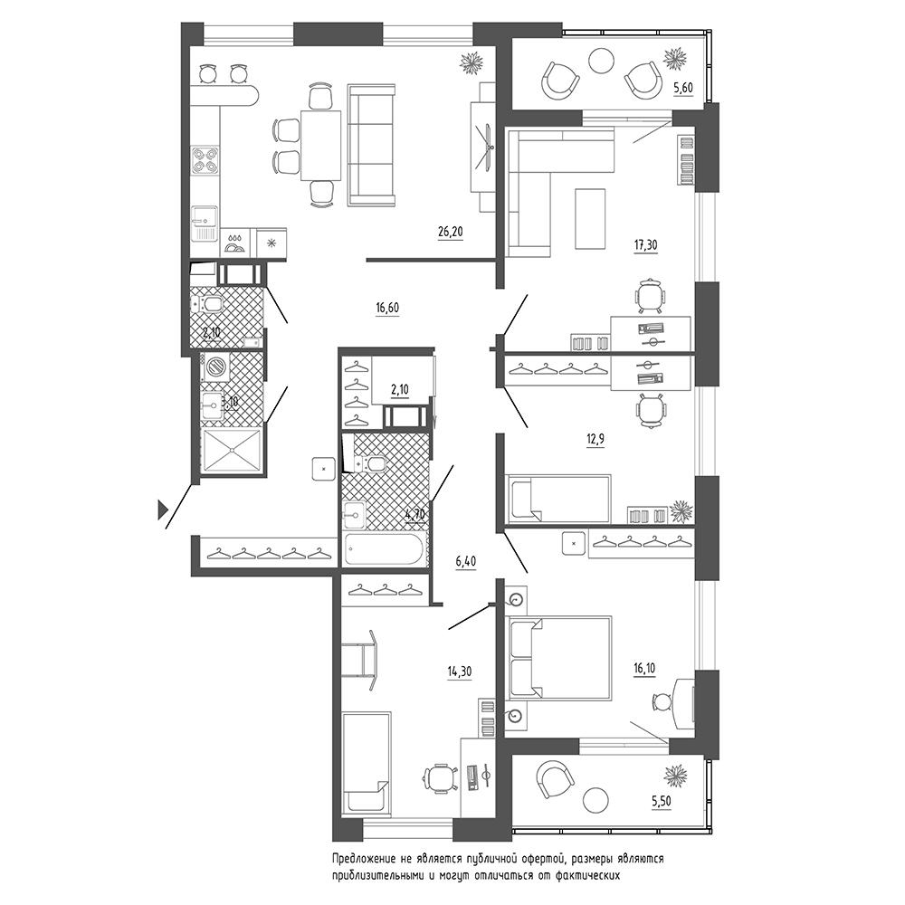 4-комнатная квартира №38 в: Галактика Премиум: 126.6 м²; этаж: 3 - купить в Санкт-Петербурге