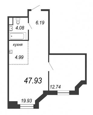 1-комнатная квартира, 47.93 м²; этаж: 9 - купить в Санкт-Петербурге