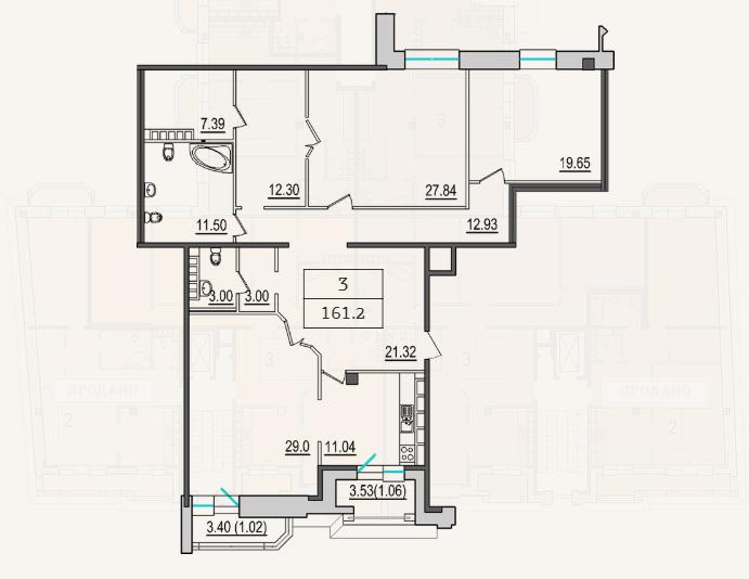 3-комнатная квартира №9 в: 4-я Советская, 9: 159.1 м²; этаж: 7 - купить в Санкт-Петербурге