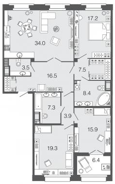 3-комнатная квартира, 133.5 м²; этаж: 8 - купить в Санкт-Петербурге