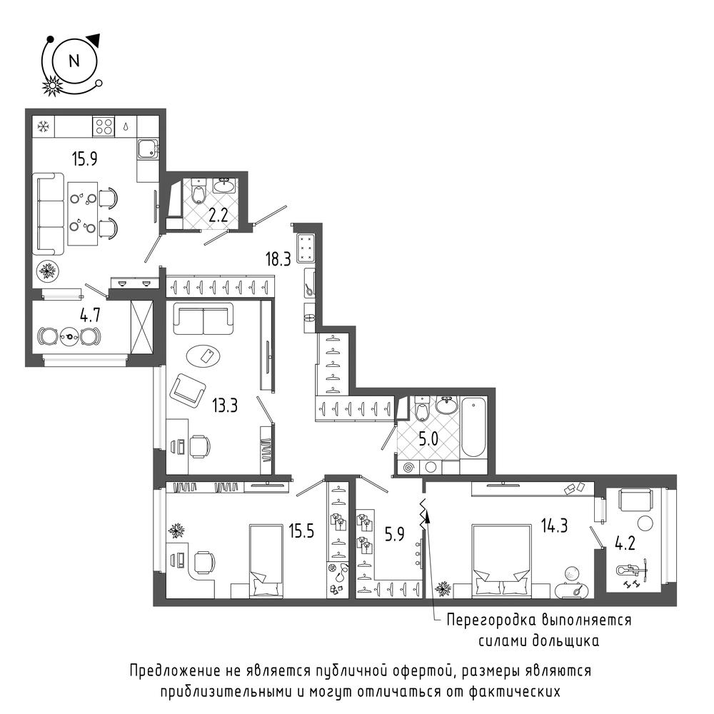 3-комнатная квартира, 94.8 м²; этаж: 5 - купить в Санкт-Петербурге