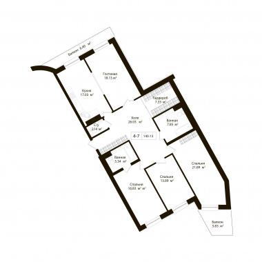 4-комнатная квартира, 136.46 м²; этаж: 7 - купить в Санкт-Петербурге
