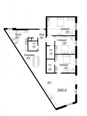 4-комнатная квартира №27 в: Meltzer Hall: 200 м²; этаж: 3 - купить в Санкт-Петербурге