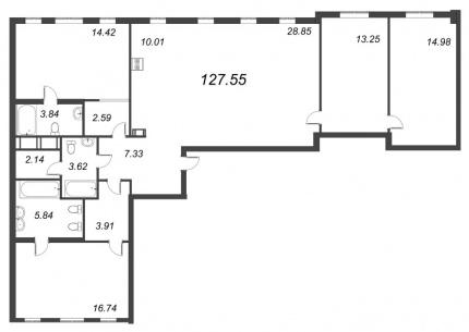 3-комнатная квартира, 127.55 м²; этаж: 8 - купить в Санкт-Петербурге