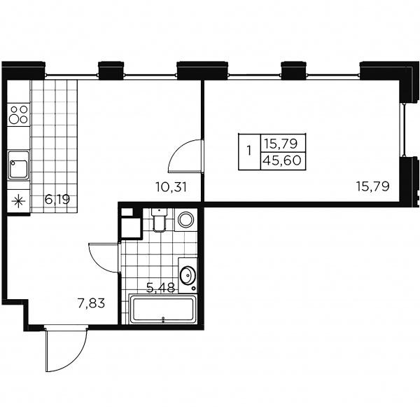 1-комнатная квартира, 45.6 м²; этаж: 2 - купить в Санкт-Петербурге