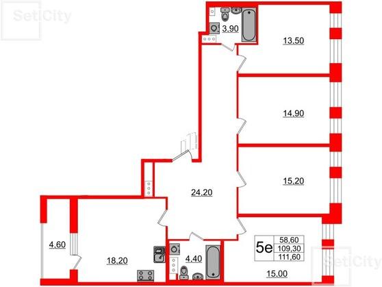 4-комнатная квартира, 109.3 м²; этаж: 10 - купить в Санкт-Петербурге