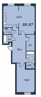 2-комнатная квартира, 90.1 м²; этаж: 2 - купить в Санкт-Петербурге