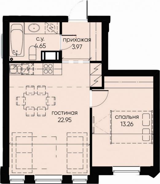 1-комнатная квартира №72 в: ID Moskovskiy: 44.83 м²; этаж: 7 - купить в Санкт-Петербурге