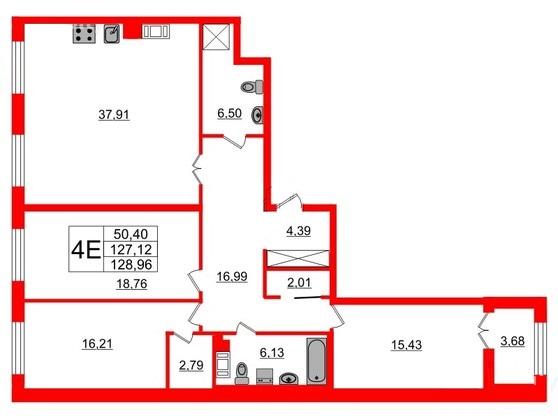 3-комнатная квартира, 128.8 м²; этаж: 8 - купить в Санкт-Петербурге
