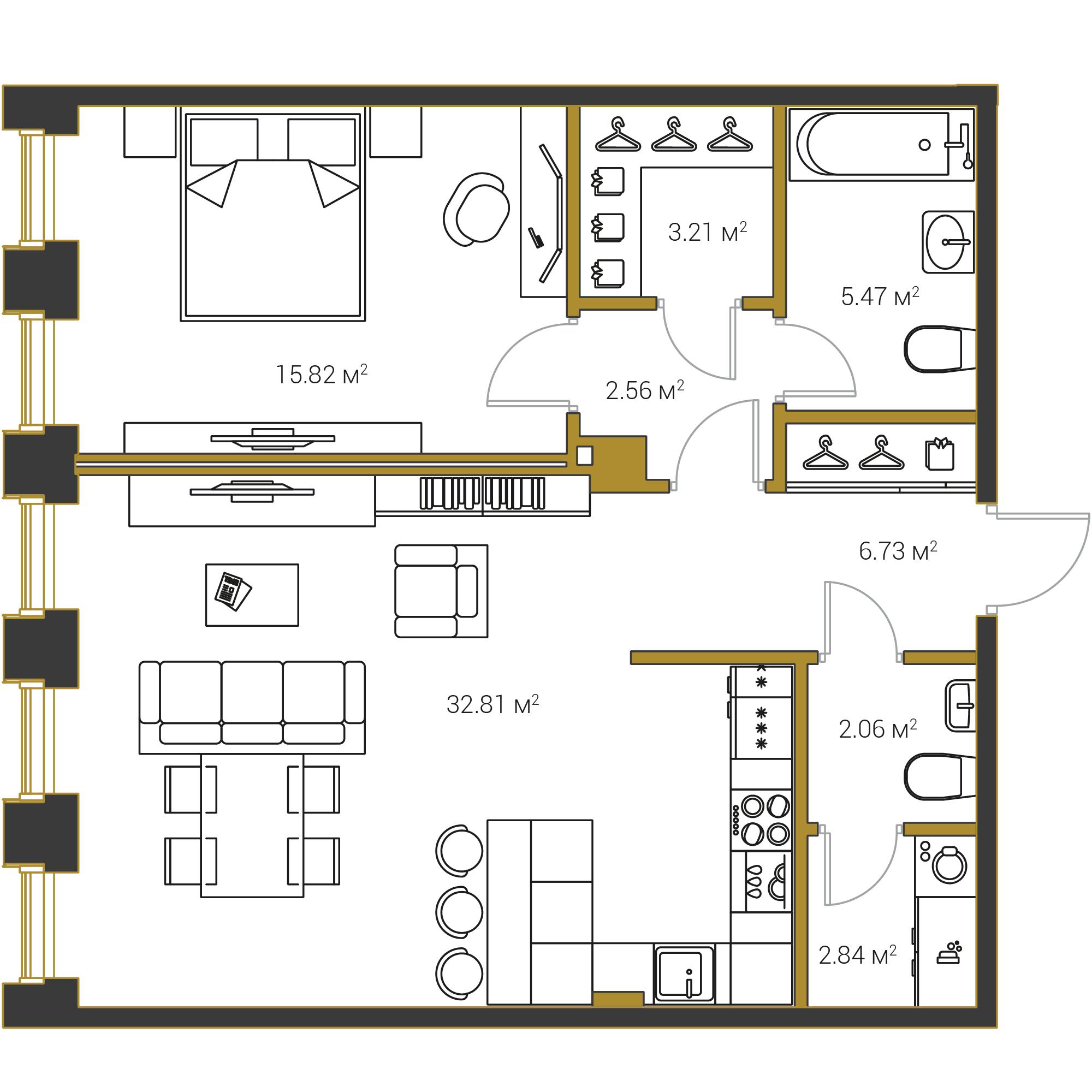 1-комнатная квартира №16 в: Институтский,16: 71.5 м²; этаж: 15 - купить в Санкт-Петербурге
