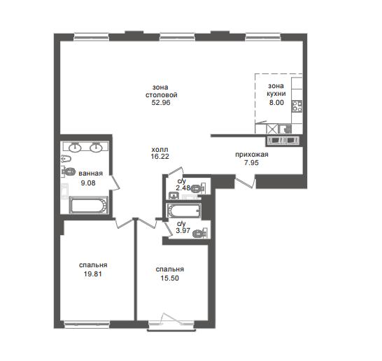 2-комнатная квартира №32А в: Приоритет: 135.59 м²; этаж: 4 - купить в Санкт-Петербурге