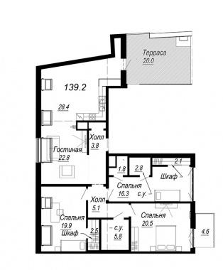 3-комнатная квартира №27 в: Meltzer Hall: 139.2 м²; этаж: 8 - купить в Санкт-Петербурге