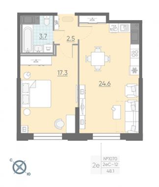 1-комнатная квартира №42 в: Цивилизация на Неве: 48.1 м²; этаж: 3 - купить в Санкт-Петербурге