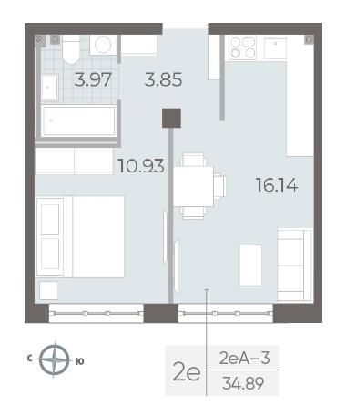 1-комнатная квартира №17А в: Neva Residence: 34.89 м²; этаж: 3 - купить в Санкт-Петербурге