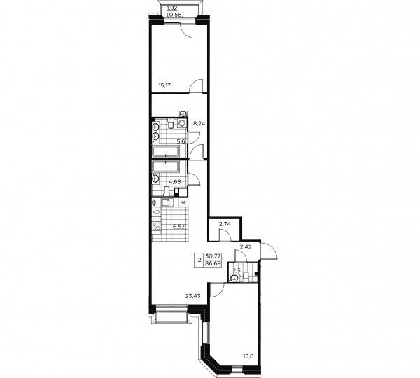 2-комнатная квартира, 87.27 м²; этаж: 3 - купить в Санкт-Петербурге
