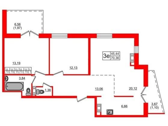 3-комнатная квартира, 70.1 м²; этаж: 17 - купить в Санкт-Петербурге
