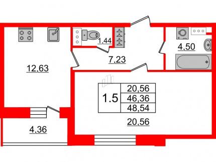 1-комнатная квартира №66 в: Притяжение: 46.36 м²; этаж: 8 - купить в Санкт-Петербурге