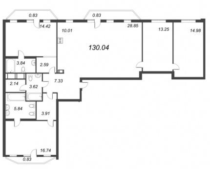3-комнатная квартира, 130.04 м²; этаж: 7 - купить в Санкт-Петербурге