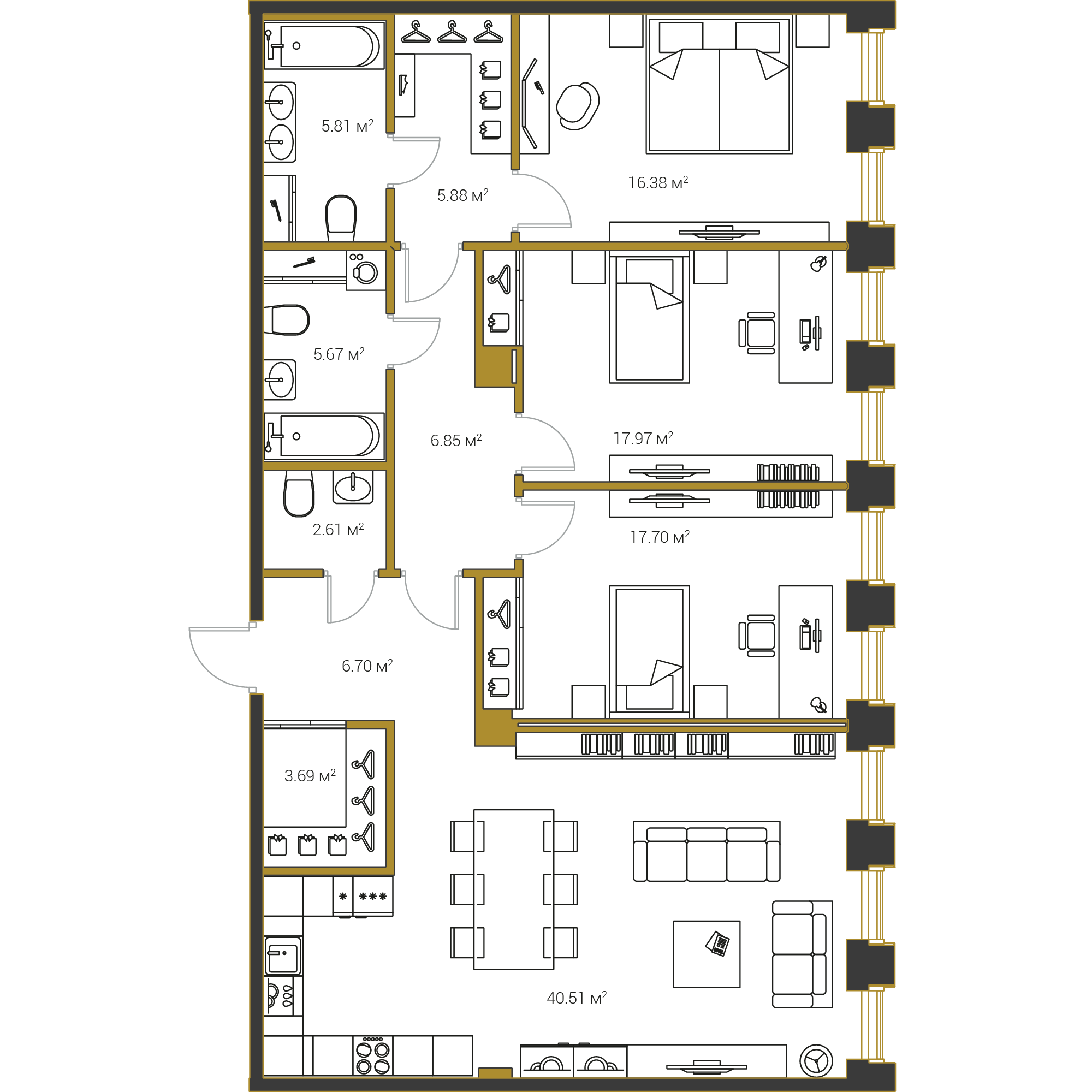 3-комнатная квартира №16 в: Институтский,16: 129.77 м²; этаж: 6 - купить в Санкт-Петербурге