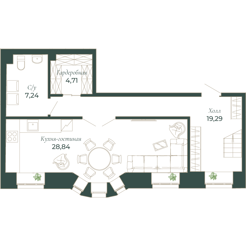3-комнатная квартира, 108.8 м²; этаж: 3 - купить в Санкт-Петербурге