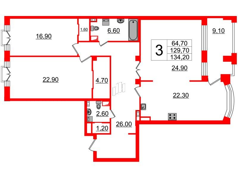 3-комнатная квартира, 129.7 м²; этаж: 4 - купить в Санкт-Петербурге