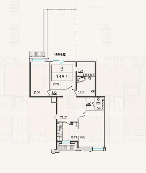 3-комнатная квартира №9 в: 4-я Советская, 9: 136 м²; этаж: 8 - купить в Санкт-Петербурге