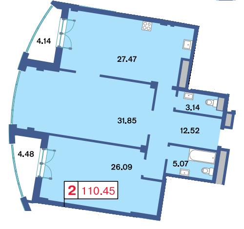 2-комнатная квартира, 111.1 м²; этаж: 5 - купить в Санкт-Петербурге