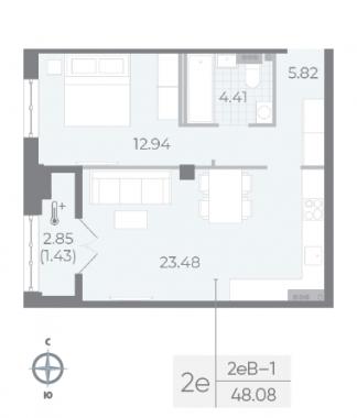 1-комнатная квартира №17А в: Neva Residence: 48.08 м²; этаж: 5 - купить в Санкт-Петербурге