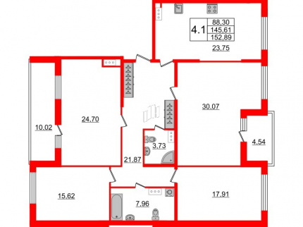 4-комнатная квартира №66 в: Притяжение: 145.61 м²; этаж: 8 - купить в Санкт-Петербурге