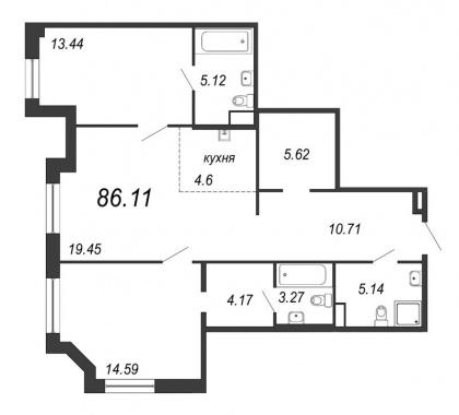 2-комнатная квартира, 86.11 м²; этаж: 9 - купить в Санкт-Петербурге