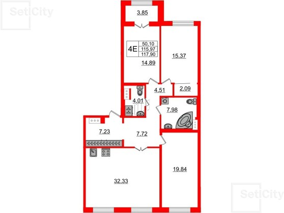 3-комнатная квартира, 116.1 м²; этаж: 5 - купить в Санкт-Петербурге