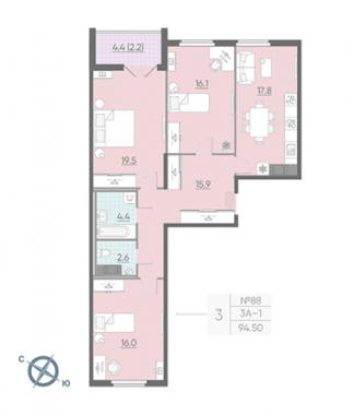3-комнатная квартира, 95.1 м²; этаж: 11 - купить в Санкт-Петербурге