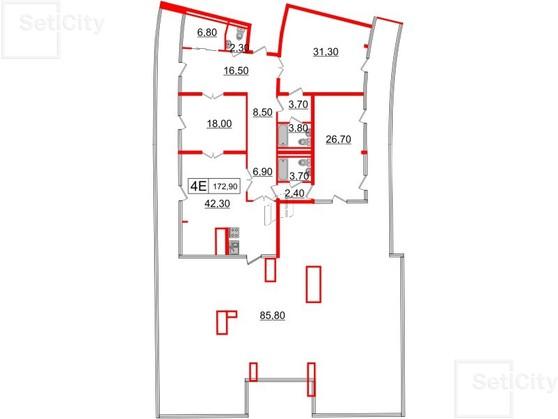 3-комнатная квартира, 172.9 м²; этаж: 7 - купить в Санкт-Петербурге