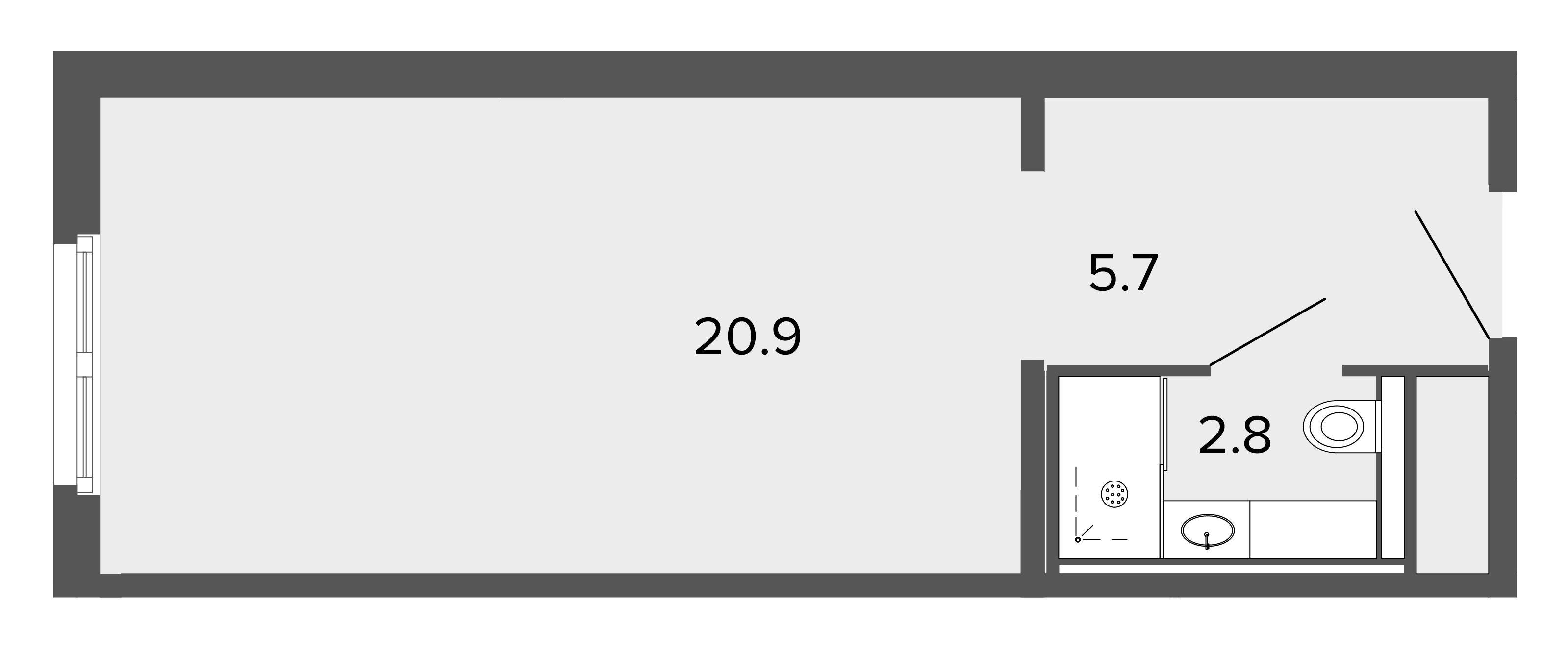 1-комнатная квартира, 28.9 м²; этаж: 13 - купить в Санкт-Петербурге
