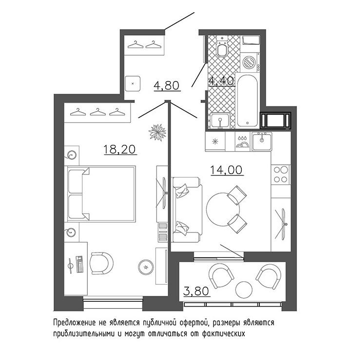 1-комнатная квартира №8к.1 в: Галактика Премиум: 43.4 м²; этаж: 4 - купить в Санкт-Петербурге