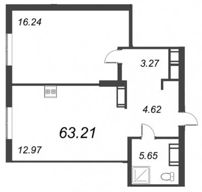 2-комнатная квартира, 63.21 м²; этаж: 8 - купить в Санкт-Петербурге