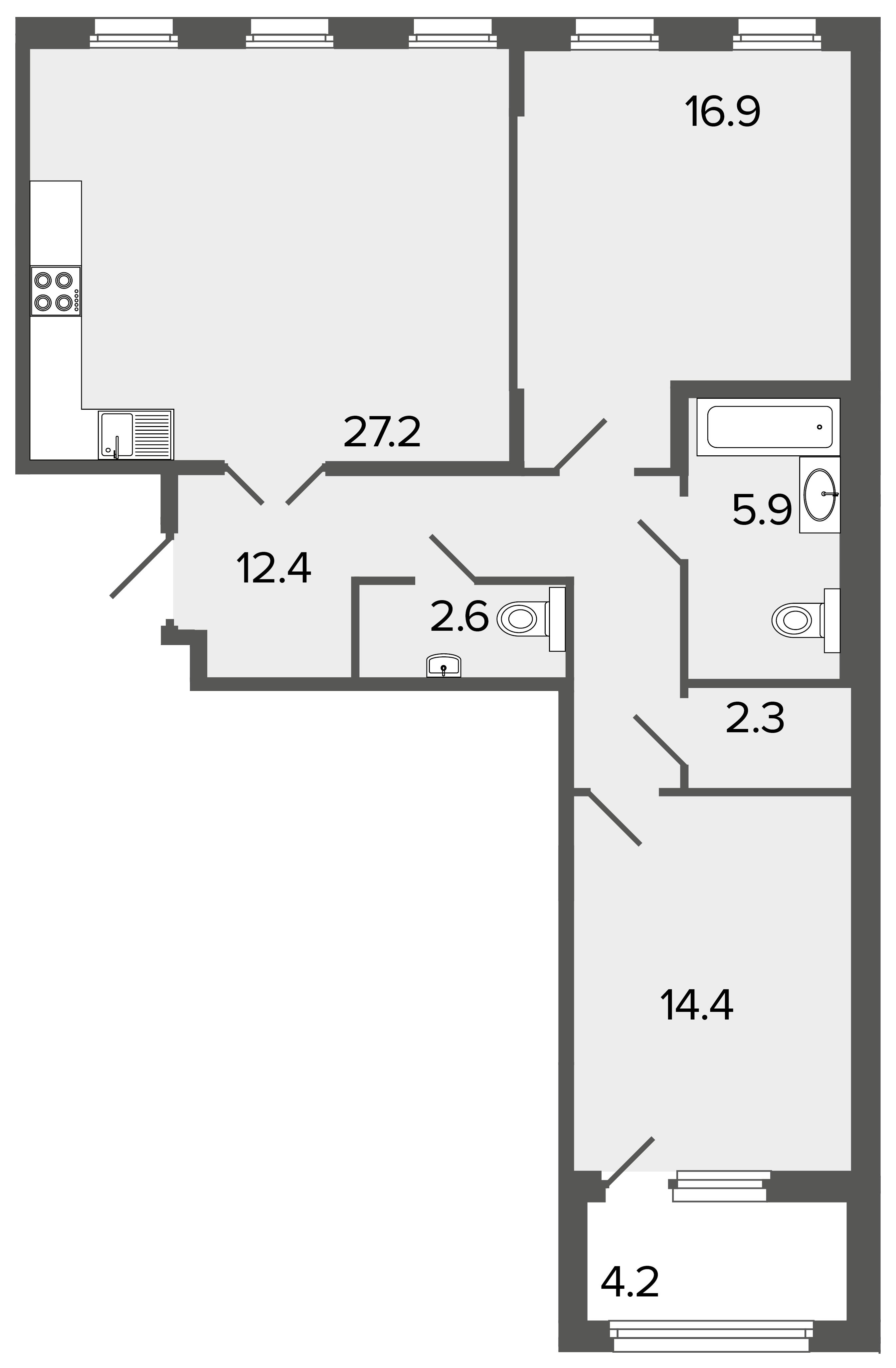 2-комнатная квартира, 81.7 м²; этаж: 2 - купить в Санкт-Петербурге