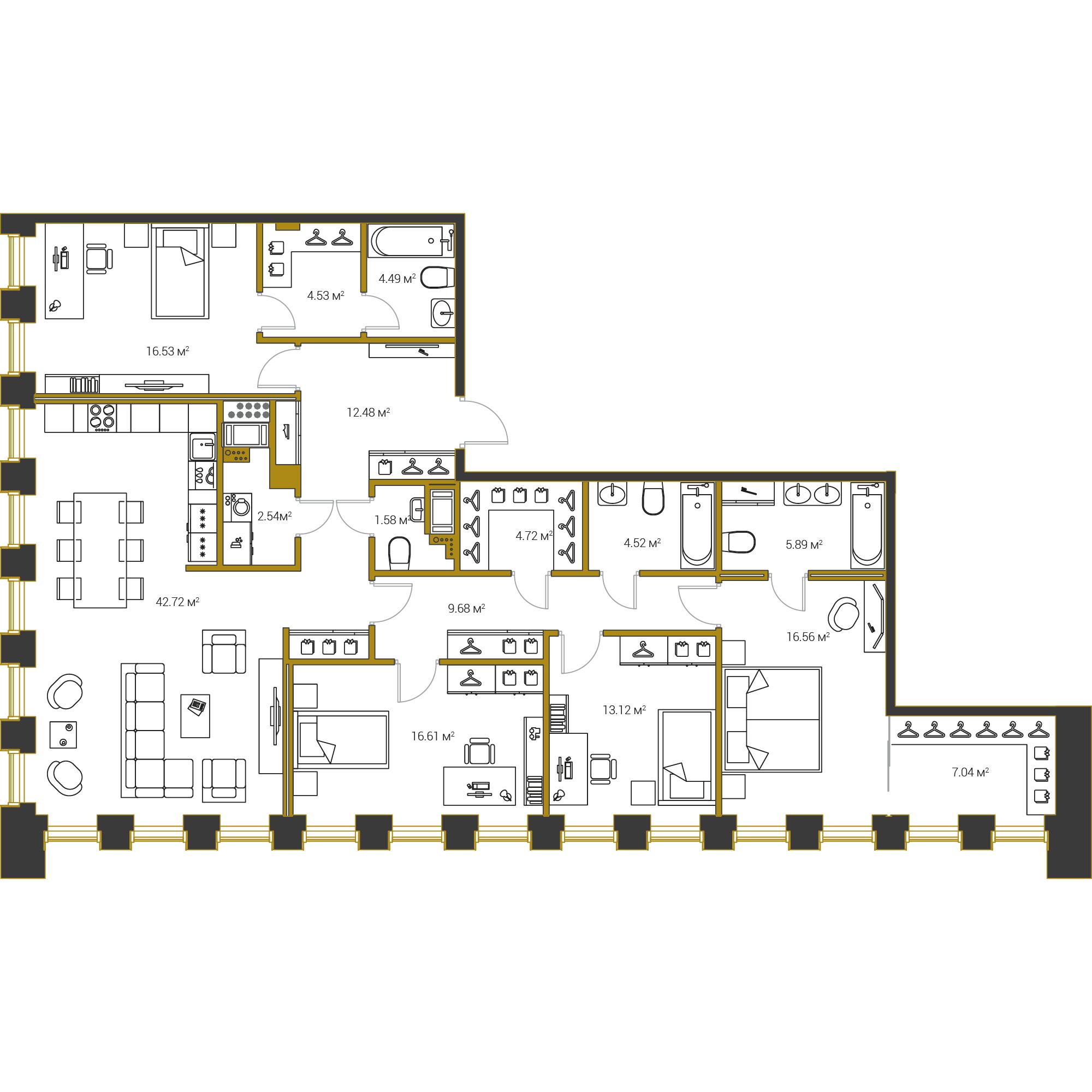 4-комнатная квартира, 163.01 м²; этаж: 9 - купить в Санкт-Петербурге