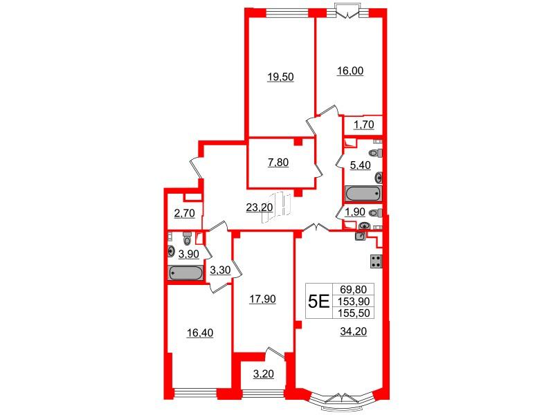 4-комнатная квартира №7 в: Victory Plaza: 153.9 м²; этаж: 6 - купить в Санкт-Петербурге