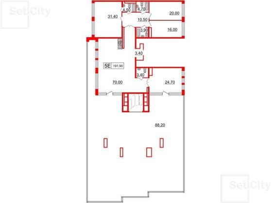 5-комнатная квартира №46, к.1 в: Стокгольм: 191.9 м²; этаж: 6 - купить в Санкт-Петербурге