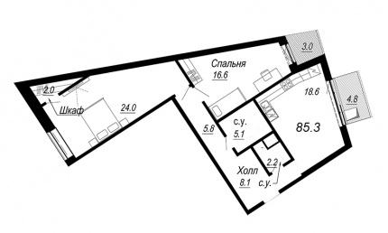 2-комнатная квартира №27 в: Meltzer Hall: 85.3 м²; этаж: 4 - купить в Санкт-Петербурге