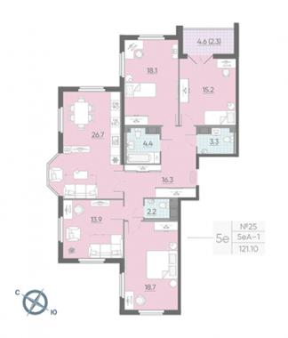 4-комнатная квартира №42 в: Цивилизация на Неве: 121.1 м²; этаж: 10 - купить в Санкт-Петербурге
