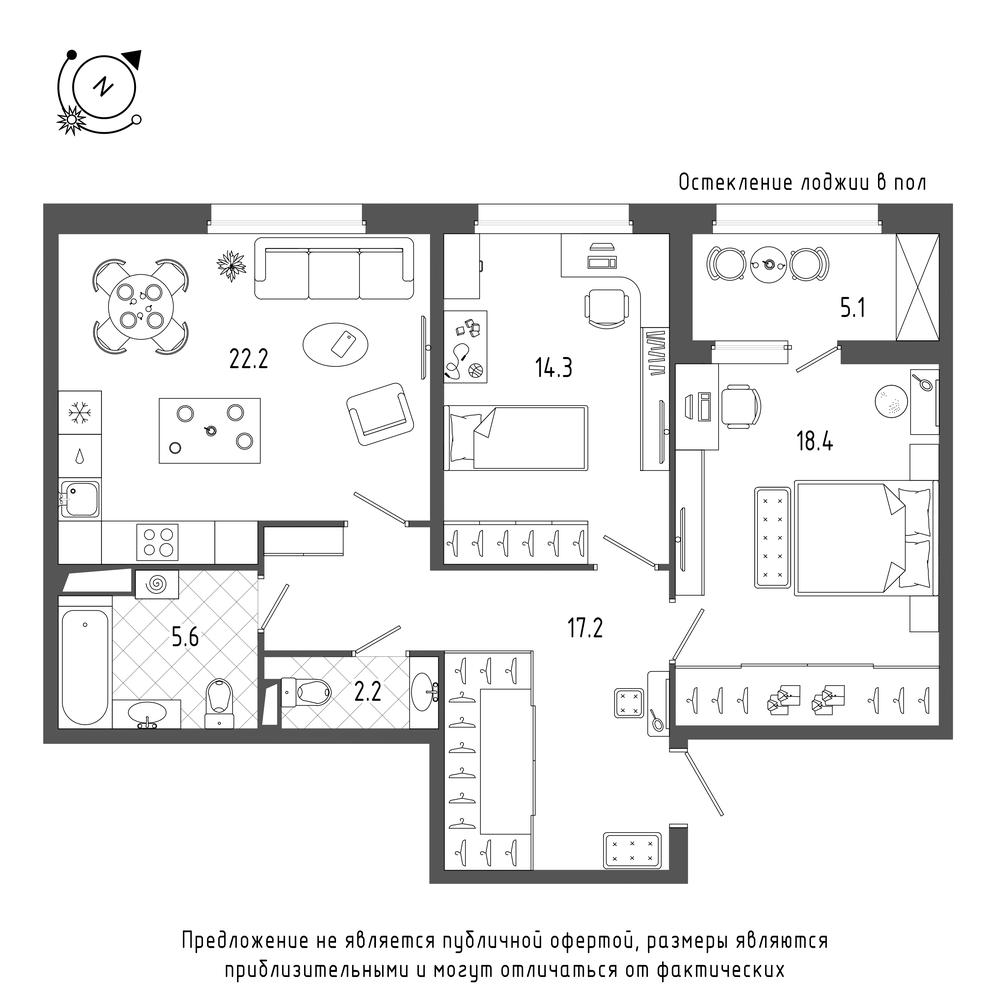 2-комнатная квартира, 82.5 м²; этаж: 4 - купить в Санкт-Петербурге