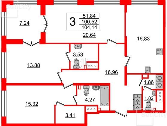 3-комнатная квартира, 100.52 м²; этаж: 7 - купить в Санкт-Петербурге
