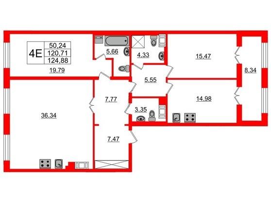 3-комнатная квартира, 121.3 м²; этаж: 7 - купить в Санкт-Петербурге