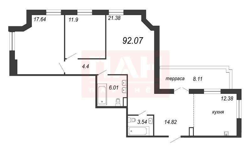 2-комнатная квартира, 94.5 м²; этаж: 12 - купить в Санкт-Петербурге