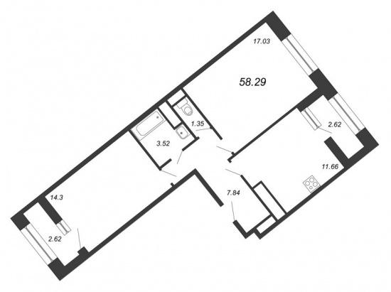 2-комнатная квартира № в: NEW TIME: 58.29 м²; этаж: 6 - купить в Санкт-Петербурге