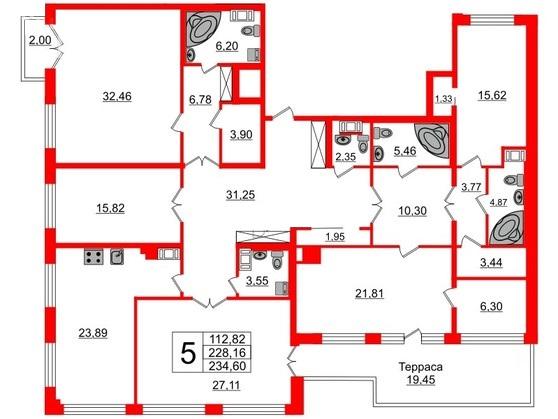 5-комнатная квартира №26 в: Петровский квартал на Неве: 230.1 м²; этаж: 7 - купить в Санкт-Петербурге