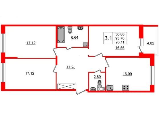 3-комнатная квартира, 93.7 м²; этаж: 6 - купить в Санкт-Петербурге